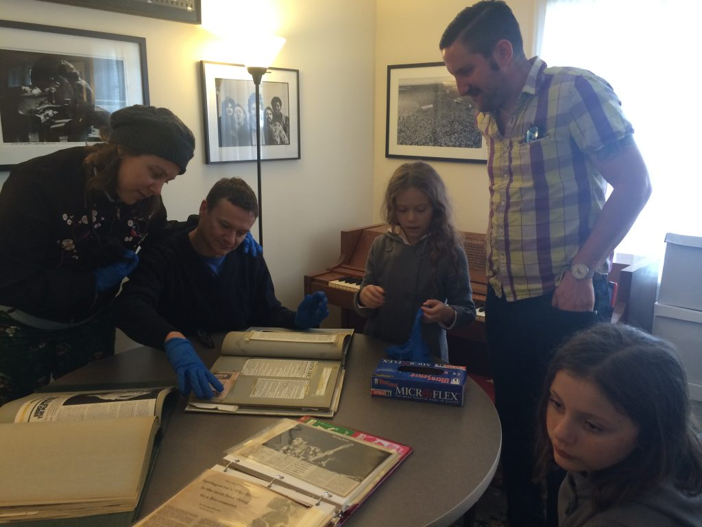 Students at the archives